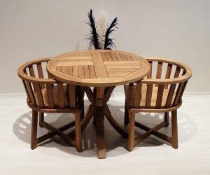 ahşap yuvarlak bahçe masası ve sandalye grubu