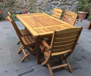 sabit ahşap bahçe masası